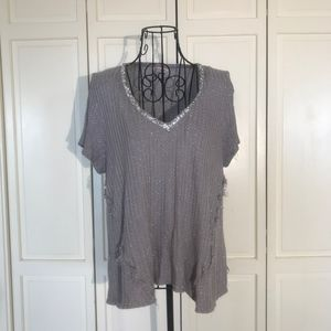 Juicy Couture Gray & Silver Rhinestone Top